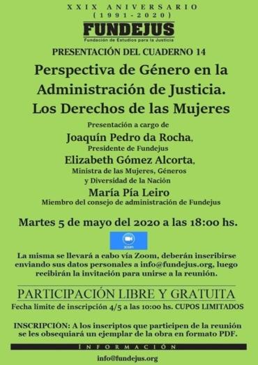 Presentación del Cuaderno N° 14 de Fundejus «Perspectiva de Género en la Administración de Justicia – Los Derechos de las Mujeres»