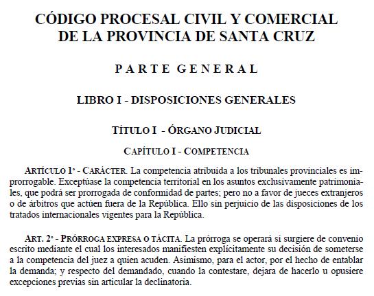 Código Procesal Civil y Comercial de la provincia de Santa Cruz