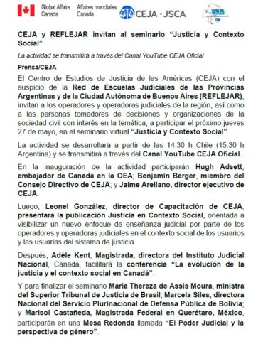"""CEJA y REFLEJAR invitan al seminario """"Justicia y Contexto Social"""""""